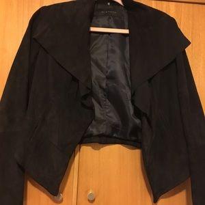 Navy blue suede Elie Tahari crop jacket